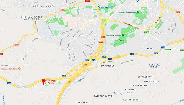 enlace Maps a centro medico de asturias